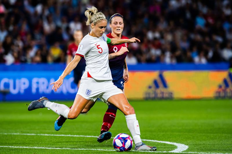 Steph Houghton of England and Isabell Lehn Herlovsen of Norway during the FIFA Women's World Cup Quarter Final match between Norway and England on June 27, 2019 in Le Havre.