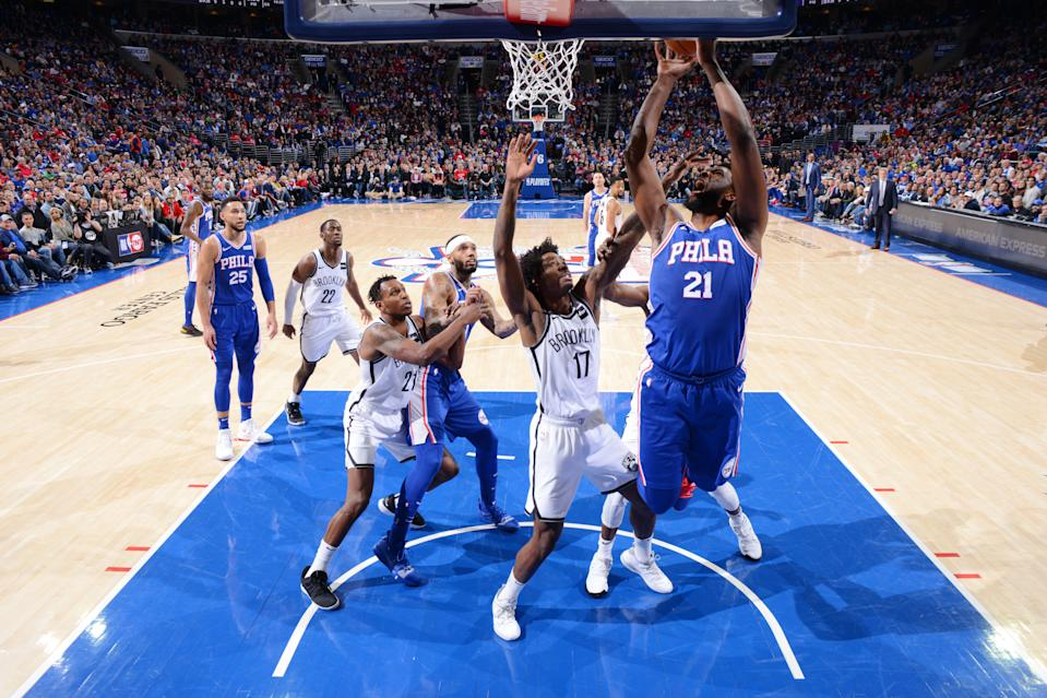 PHILADELPHIA, PA - APRIL 15: Joel Embiid #21 of the Philadelphia 76ers shoots the ball against the Brooklyn Nets during Game Two of Round One of the 2019 NBA Playoffs on April 15, 2019 at the Wells Fargo Center in Philadelphia, Pennsylvania NOTE TO USER: User expressly acknowledges and agrees that, by downloading and/or using this Photograph, user is consenting to the terms and conditions of the Getty Images License Agreement. Mandatory Copyright Notice: Copyright 2019 NBAE (Photo by Jesse D. Garrabrant/NBAE via Getty Images)