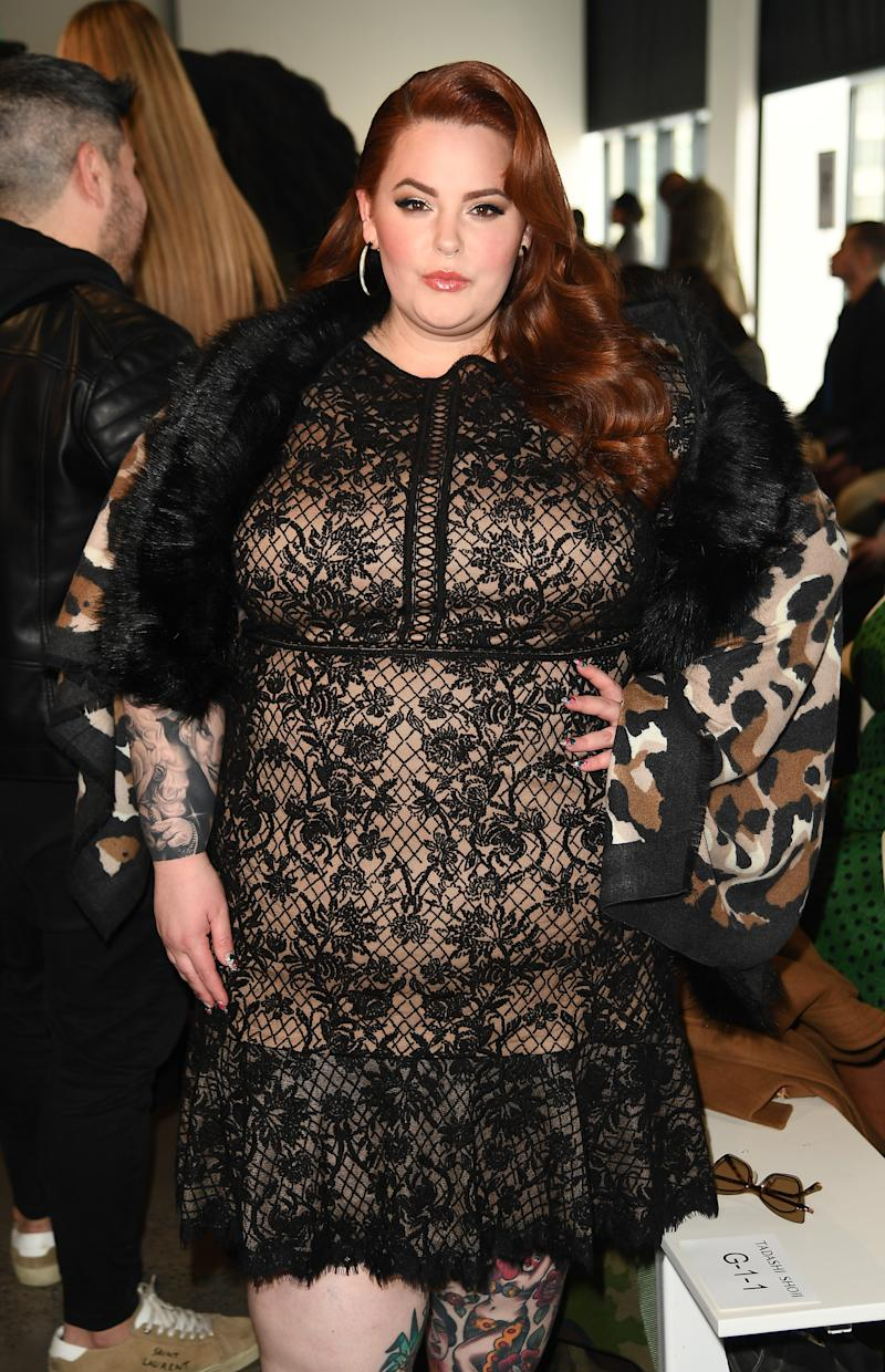 NEW YORK, NY - FEBRUARY 07: Model Tess Holliday attends the Tadashi Shoji FW'19 Fashion Show front row during New York Fashion Week: The Shows at Gallery I at Spring Studios on February 7, 2019 in New York City. (Photo by Nicholas Hunt/Getty Images for Tadashi Shoji)