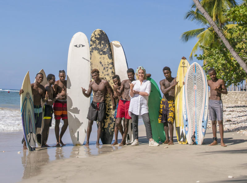 Joanna Lumley visiting Haiti Surf School for her new series (ITV)