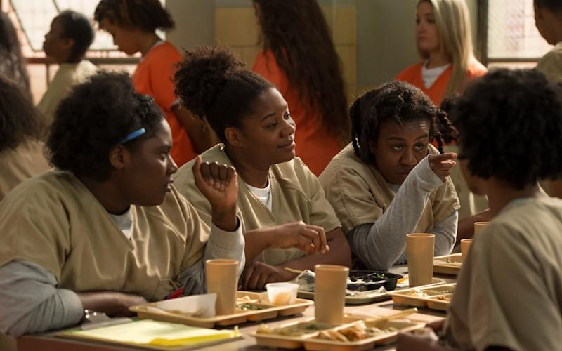 Orange is the New Black character Cindy, played by Adrienne C Moore, converts to Judaism for better food - Netflix/JoJo Whilden