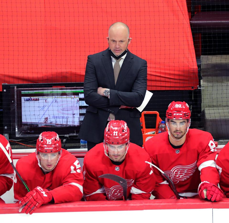 Detroit Red Wings head coach Jeff Blashill on the bench during action against the Tampa Bay Lightning on Sunday, May 2, 2021 at Little Caesars Arena.