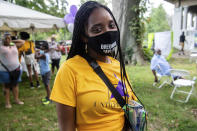 FILE - In this Aug. 28, 2021, file photo, Tamika Mallory poses for a photo at Bre-B-Q Community Barbecue and Concert Honoring All The Lives Lost to Police Violence at Shawnee Park presented by Until Freedom on day two of BreonnaCon in Louisville, Ky. In the nation's capital multiracial coalitions of civil, human and labor rights leaders are convening rallies and marches to urge passage of federal voter protections that have been eroded since the Voting Rights Act of 1965. Mallory said voting rights are essential to people being able to elect leaders who will support the unfinished business of police reform. (Amy Harris/Invision/AP, File)