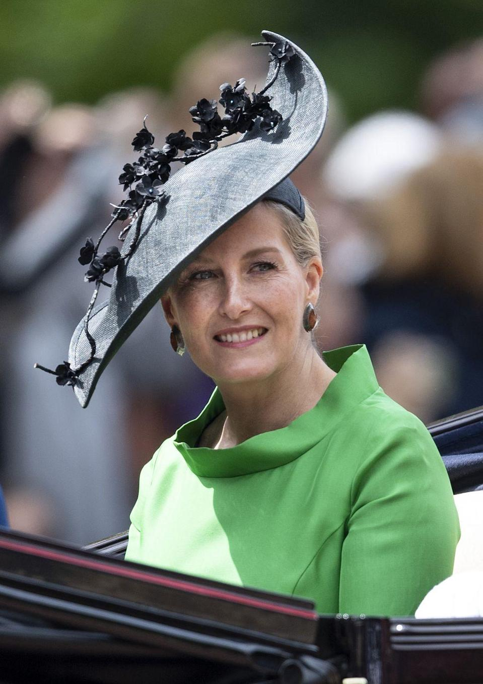 <p>For Trooping the Colour, Sophie chose a green Suzannah dress and hat by Jane Taylor.</p>