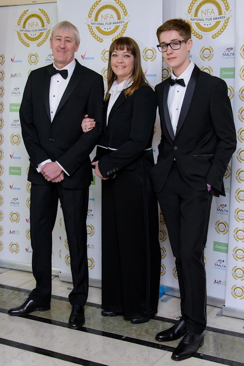 Archie Lyndhurst with parents Nicholas and Lucy, pictured in 2017 (Photo: Joe Maher via Getty Images)