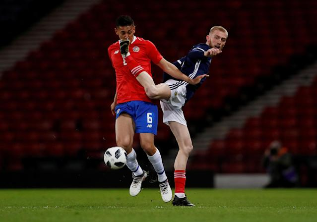 Soccer Football - International Friendly - Scotland vs Costa Rica - Hampden Park, Glasgow, Britain - March 23, 2018 Costa Rica's Oscar Duarte in action with Scotland's Oliver McBurnie Action Images via Reuters/Lee Smith TPX IMAGES OF THE DAY