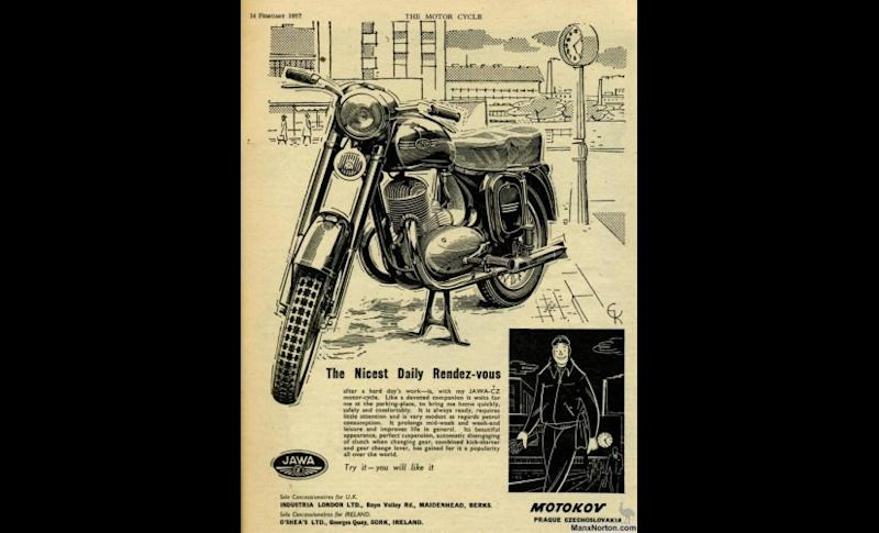 An old advertisement of the Jawa in foreign media. Image courtesy: Boman Irani
