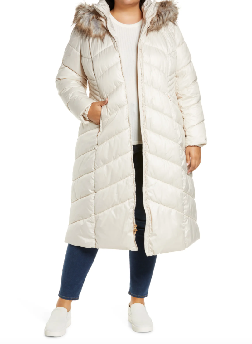 Gallery Long Quilted Parka with Faux Fur Trim in Birch (Photo via Nordstrom)