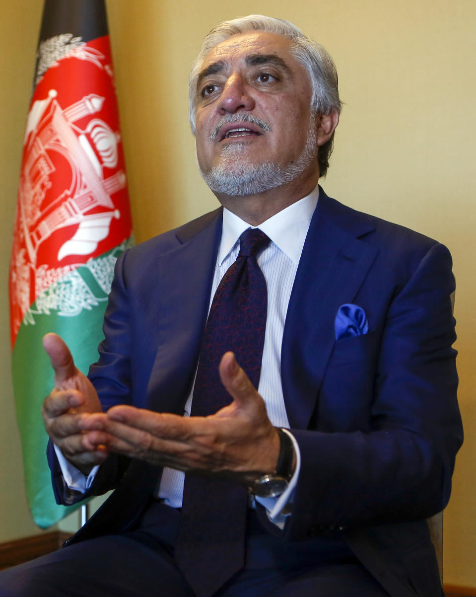 Abdullah Abdullah, head of Afghanistan's National Reconciliation Council, gestures as he talks to The Associated Press following an interview on the sidelines of a diplomatic forum in Antalya, Turkey, Friday, June 18, 2021. Abdullah expressed concerns hat the Taliban will have no interest in a political settlement with the U.S.-supported government in Kabul following the departure of U.S. and NATO forces. By Sept. 11 at the latest, around 2,300-3,500 remaining U.S. troops and roughly 7,000 allied NATO forces are scheduled to leave Afghanistan,, ending nearly 20 years of military engagement. (AP Photo/Mehmet Guzel)