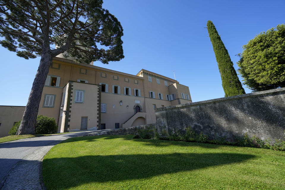 A view of the Papal Palace in Castel Gandolfo, some 30 kilometers southeast of Rome, Saturday, May 29, 2021. As Covid-19 restrictions are slowly being lifted in Italy, thousands of people are returning to visit the extensive gardens and apartments at the Papal Palace of Castel Gandolfo in the Alban Hills near Rome, that for hundreds of years have been the summer retreat for Popes seeking to escape the suffocating heat of Rome. (AP Photo/Andrew Medichini)