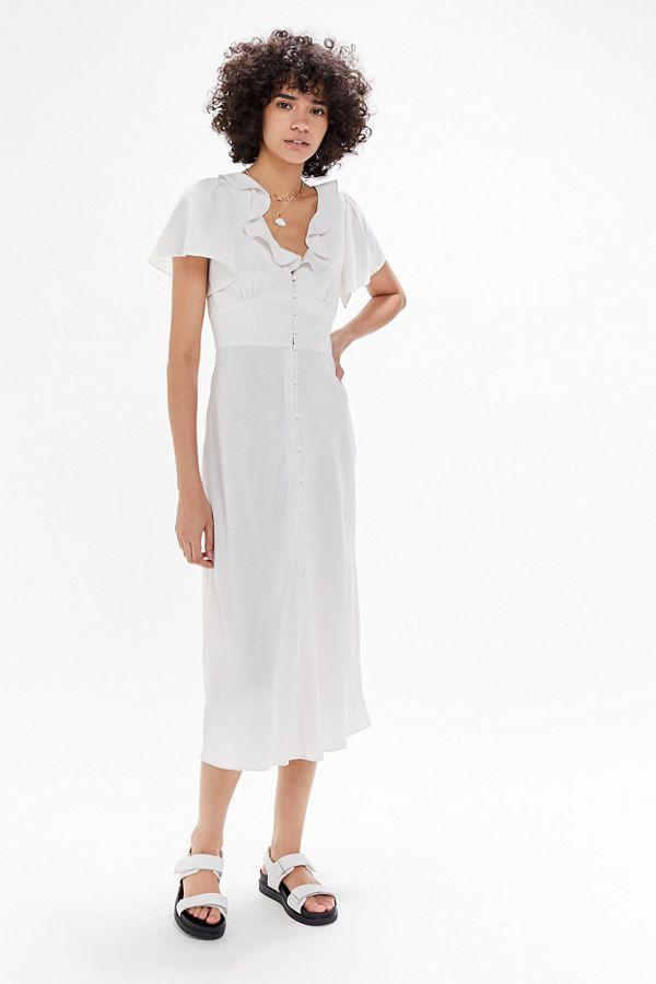 UO Heart Melter Button-Front Ruffle Midi Dress.