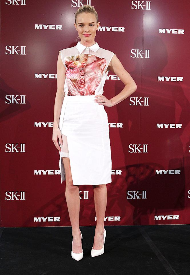 SYDNEY, AUSTRALIA - OCTOBER 12: Kate Bosworth poses during an SKII promotional event at Myer Sydney City on October 12, 2012 in Sydney, Australia. (Photo by Don Arnold/WireImage)
