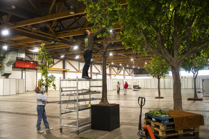 Worker decorate the rest area of a new COVID-19 vaccination centre with fake trees, at the Brussels Expo exhibition centre in Brussels, Thursday, Jan. 28, 2021. Belgian health authorities said Thursday they have inspected a pharmaceutical factory located in Belgium to find out whether the expected delays in the deliveries of AstraZeneca's coronavirus vaccines are due to production issues. (AP Photo/Francisco Seco)