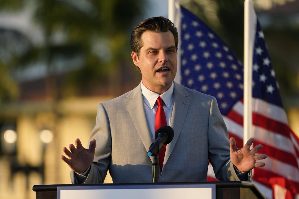 Congressman Matt Gaetz, R-Fla., speaks at a