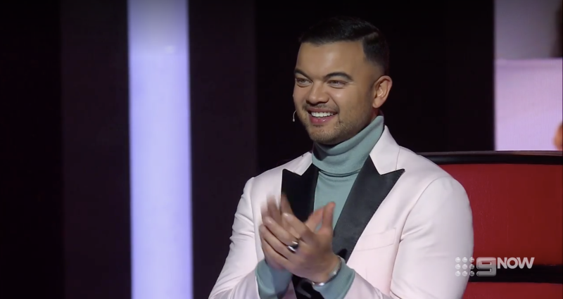 Guy Sebastian on The Voice in a pink outfit