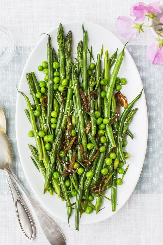 """<p>Don't skip the sesame seeds in this green beans, asparagus and peas medley — they really make it.</p><p><em><a href=""""https://www.goodhousekeeping.com/food-recipes/a43200/lemony-asparagus-beans-peas-recipe/"""" target=""""_blank"""">Get the recipe for Lemony Asparagus, Beans and Peas »</a></em></p>"""