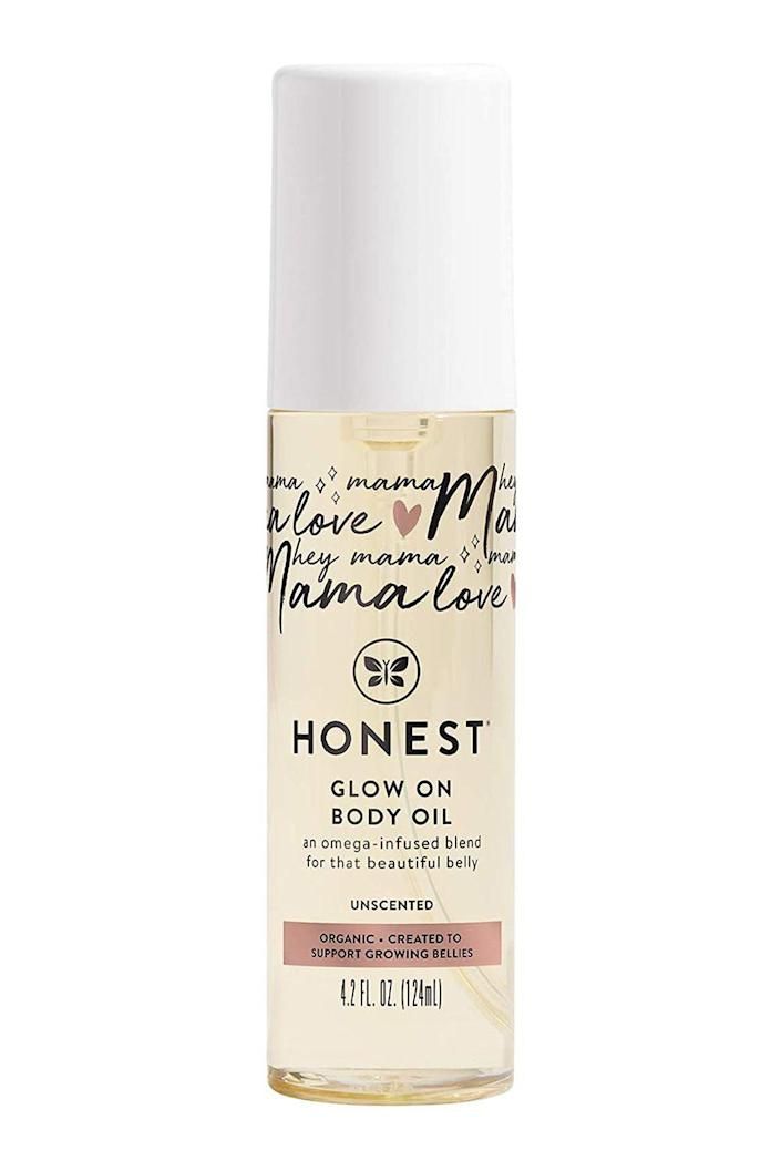 """<p><strong>The Honest Company</strong></p><p>amazon.com</p><p><strong>$17.99</strong></p><p><a href=""""https://www.amazon.com/dp/B08PY537DK?tag=syn-yahoo-20&ascsubtag=%5Bartid%7C10072.g.26787035%5Bsrc%7Cyahoo-us"""" rel=""""nofollow noopener"""" target=""""_blank"""" data-ylk=""""slk:Shop Now"""" class=""""link rapid-noclick-resp"""">Shop Now</a></p><p>Just because she doesn't have time for an intensive beauty routine, doesn't mean she doesn't want smooth, soft, and glowing skin. This brilliant body oil is formulated with a mighty mix of moisturizing avocado, coconut, and jojoba seed oils—not to mention that it takes just seconds to apply.<br></p>"""