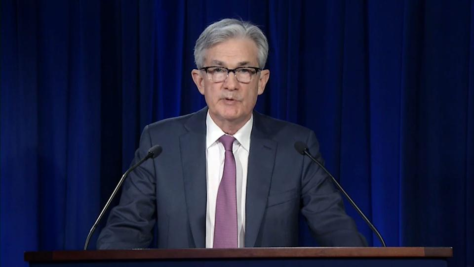 "WASHINGTON, DC - APRIL 29: In this screengrab taken from the Federal Reserve website, Chair of the Federal Reserve Jerome Powell issues the Federal Open Market Committee statement on April 29, 2020 in Washington, DC. Powell said the Federal Reserve will continue to use its lending powers ""forcefully, proactively and aggressively, until we're confident that we are solidly on the road to recovery"" from the economic downturn caused by the coronavirus pandemic. (Photo by Federal Reserve via Getty Images)"