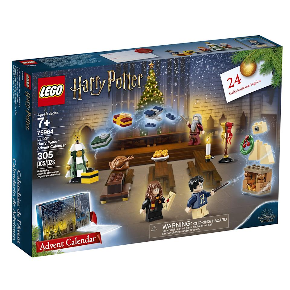 "<p>The <a href=""https://www.popsugar.com/buy/Lego-Harry-Potter-Advent-Calendar-506431?p_name=Lego%20Harry%20Potter%20Advent%20Calendar&retailer=walmart.com&pid=506431&price=33&evar1=moms%3Aus&evar9=42725668&evar98=https%3A%2F%2Fwww.popsugar.com%2Ffamily%2Fphoto-gallery%2F42725668%2Fimage%2F46803948%2FLego-Harry-Potter-Advent-Calendar-For-2019&list1=gifts%2Choliday%2Cgift%20guide%2Ckids%2Charry%20potter%2Cgifts%20for%20kids%2Ckid%20shopping%2Ctweens%20and%20teens%2Cgifts%20for%20toddlers&prop13=api&pdata=1"" rel=""nofollow"" data-shoppable-link=""1"" target=""_blank"" class=""ga-track"" data-ga-category=""Related"" data-ga-label=""https://www.walmart.com/ip/LEGO-Harry-Potter-2019-Advent-Calendar-75964/444811274"" data-ga-action=""In-Line Links"">Lego Harry Potter Advent Calendar</a> ($33) for 2019, which has 305 pieces and is aimed at kids ages 7 and up, can be opened up every day in December leading up to Christmas!</p>"
