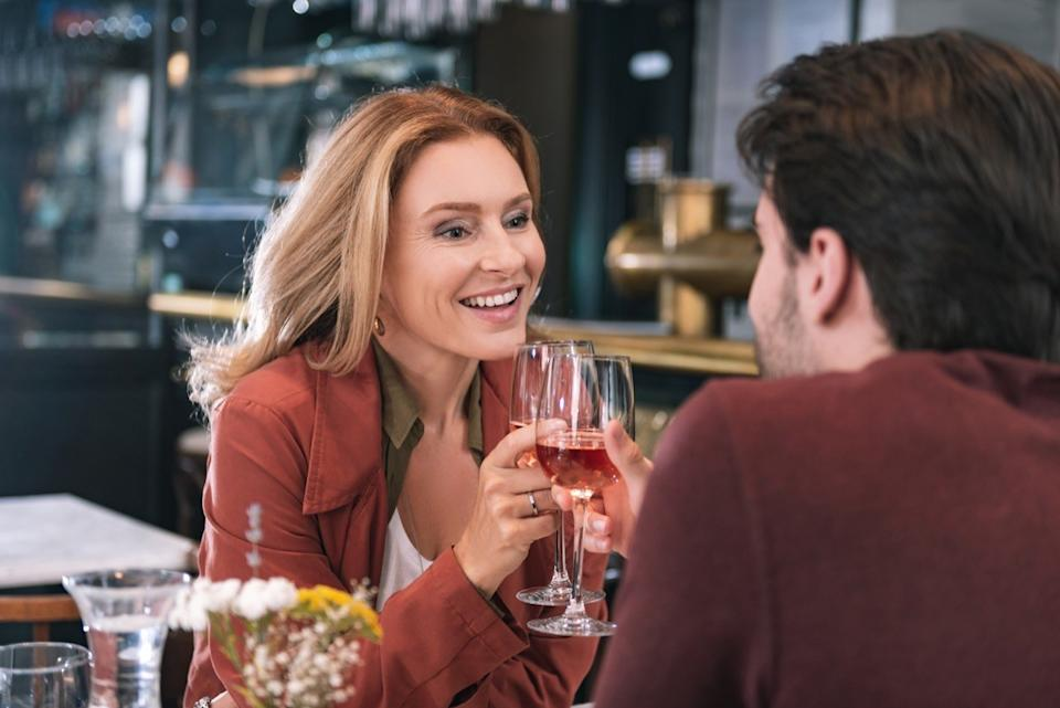 Older woman on a date with a younger man