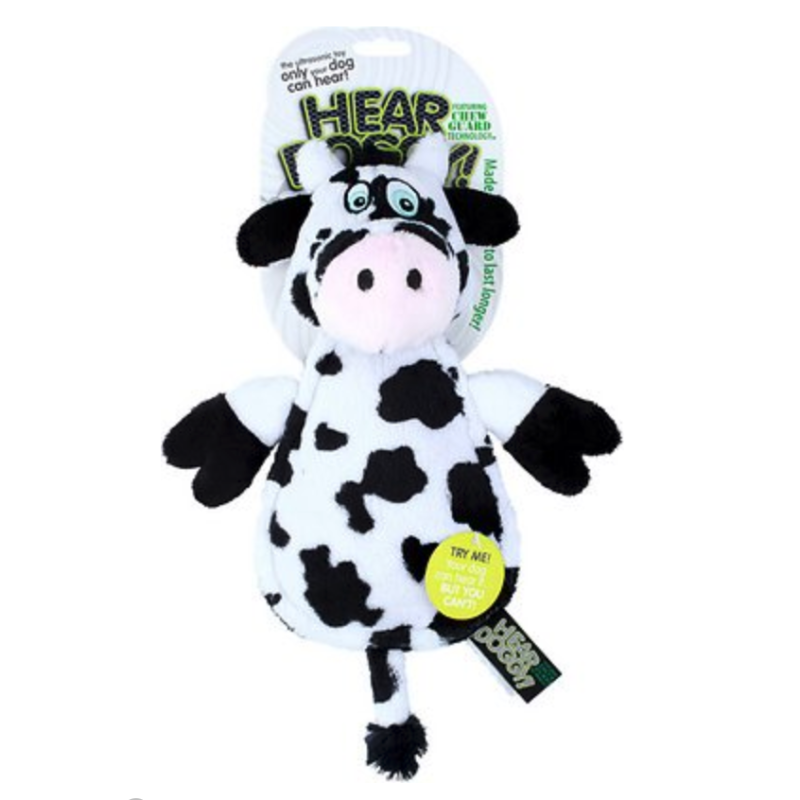Hear Doggy Silent Squeaker Chew Guard Flattie Cow Dog Toy (Photo: Chewy)