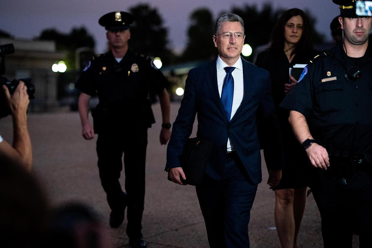 Kurt Volker, the former State Department envoy to Ukraine, leaves after testifying to impeachment investigators on Capitol Hill in Washington, Oct. 3, 2019. (Erin Schaff/The New York Times)