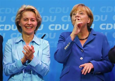 German Labour Minister Von der Leyen and German Chancellor Merkel celebrate after German general election at CDU headquarters in Berlin