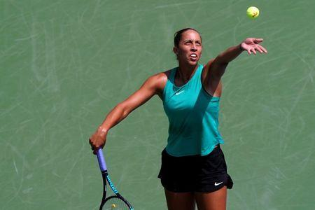 Aug 13, 2018; Mason, OH, USA; Madison Keys (USA) serves against Bethanie Mattek-Sands (USA) in the Western and Southern tennis open at Lindner Family Tennis Center. Mandatory Credit: Aaron Doster-USA TODAY Sports