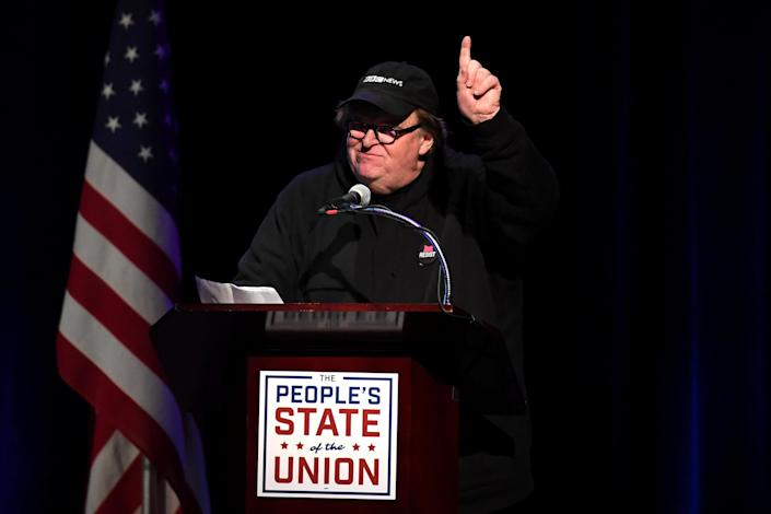 "Michael Moore called for a ""tsunami of voters"" in the November midterm elections to unseat Republicans in the House and the Senate, Jan. 29, 2018, at the Town Hall theater in NYC. (Photo: Darren Ornitz/Reuters)"