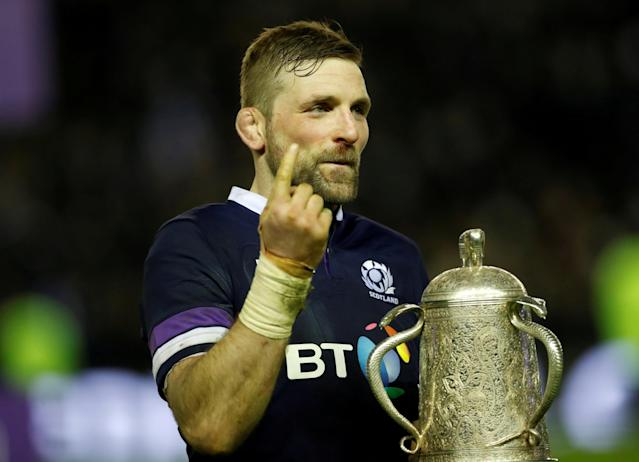 FILE PHOTO: Rugby Union - Six Nations Championship - Scotland vs England - BT Murrayfield Stadium, Edinburgh, Britain - February 24, 2018 Scotland's John Barclay celebrates with the Calcutta Cup trophy after victory over England Action Images via Reuters/Lee Smith/File Photo