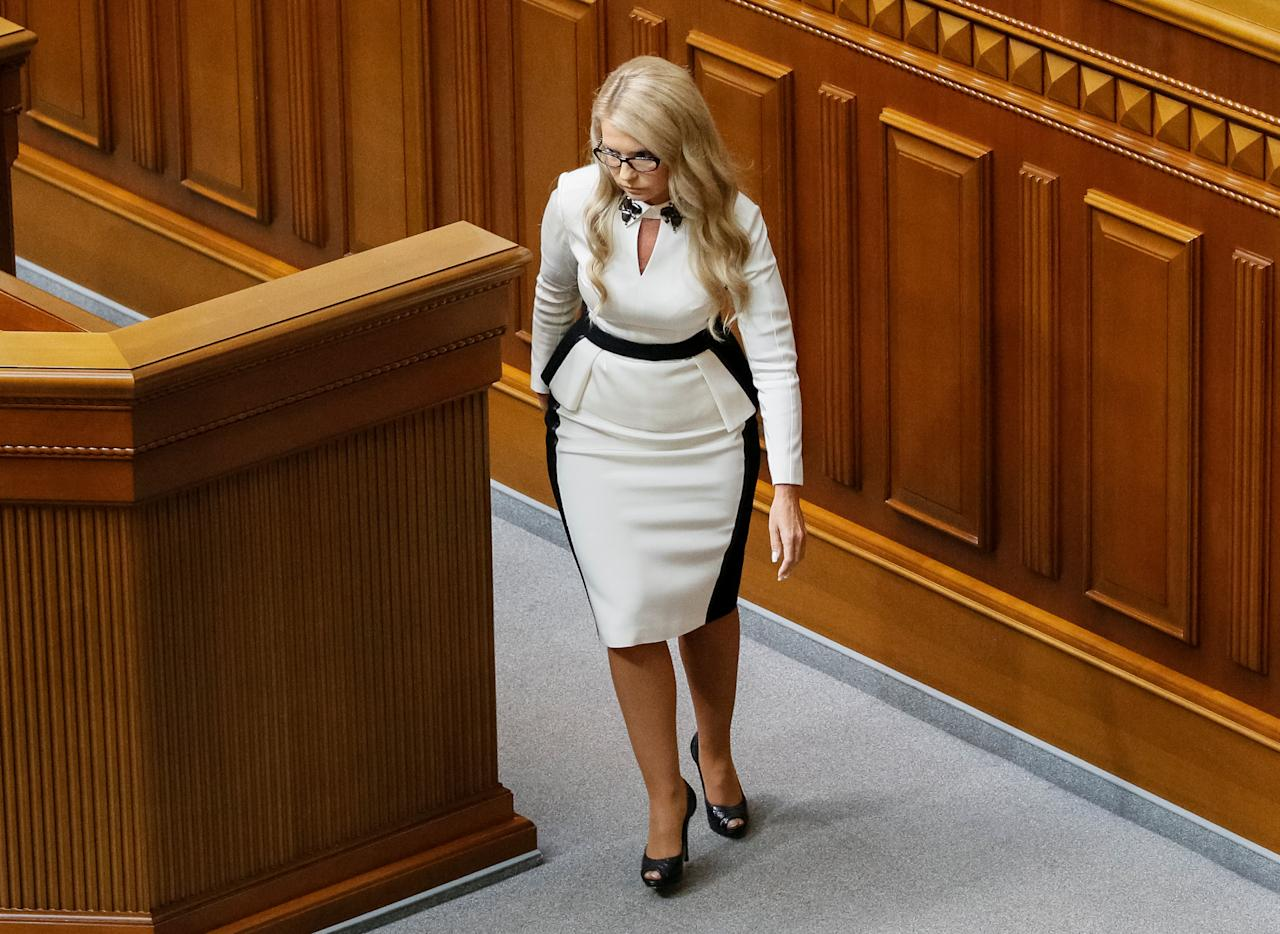 Ukrainian former prime minister and leader of Batkivshchyna (Fatherland) party Yulia Tymoshenko attends a new Ukrainian parliament session in Kiev, Ukraine, September 6, 2016.  REUTERS/Gleb Garanich
