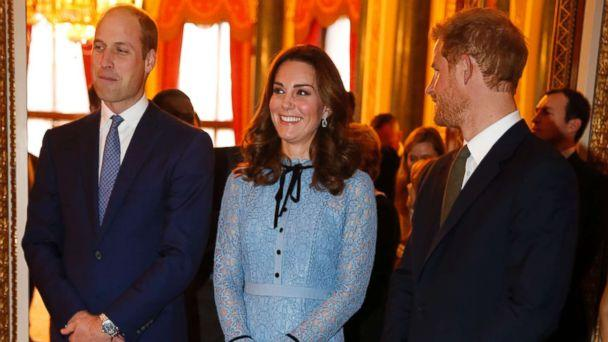 PHOTO: Prince William, Catherine Duchess of Cambridge and Prince Harry at a World Mental Health Day reception at Buckingham Palace in London, Oct. 10, 2017. (i-Images/PacificCoastNews)