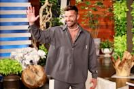 <p>Ricky Martin waves to fans as he arrives at <i>The Ellen DeGeneres Show</i> - where he surprised DeGeneres with over 3,000 flowers to congratulate her on over 3,000 episodes - for her June 7 show in Burbank, California. </p>