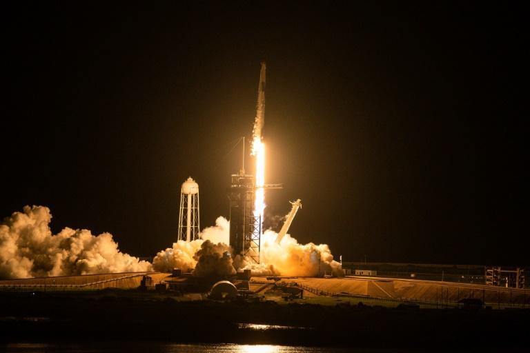 The SpaceX Falcon 9 rocket carrying the Inspiration4 crew launches from Pad 39A at NASA's Kennedy Space Center in Cape Canaveral, Florida (AFP/CHANDAN KHANNA)