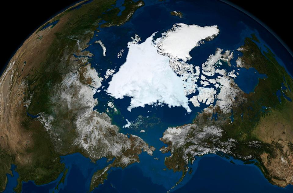 The state of Arctic sea ice is seen in this image taken by NASA's Aqua satellite on September 10, 2008. The amount of sea ice has reduced significantly since then. (Reuters)
