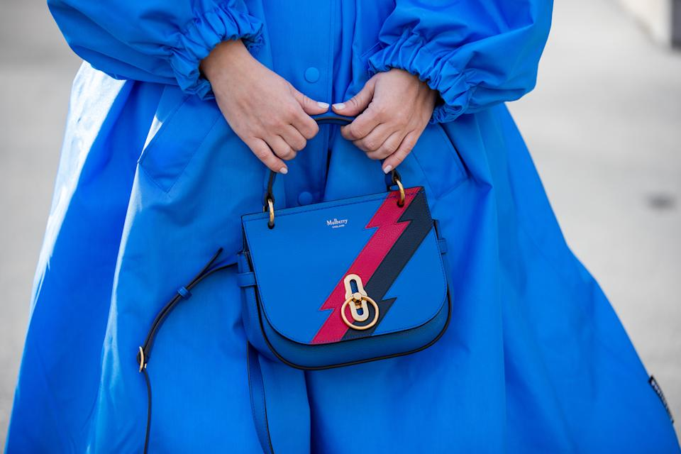 PARIS, FRANCE - FEBRUARY 29: Carolina Ogliaro is seen wearing blue coat and belt Balenciaga, Mulberry bag during Paris Fashion Week - Womenswear Fall/Winter 2020/2021 : Day Six on February 29, 2020 in Paris, France. (Photo by Christian Vierig/Getty Images)