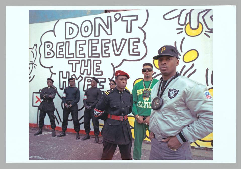 Public Enemy in 1988. From left: S1W, Professor Griff, Terminator X, and Chuck D.