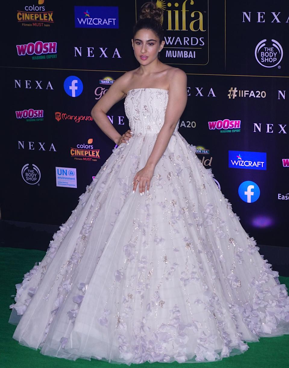 Go big or go home, and Sara definitely decided that bigger is better. In a white gown by Gaurav Gupta, her debut at the IIFA Awards was a like a fairy tale.