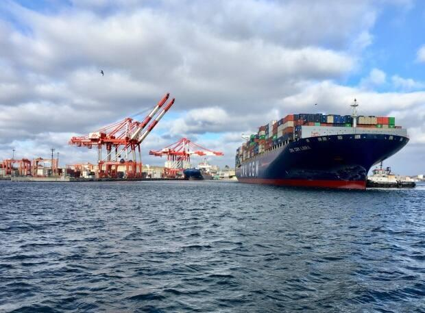 The CMA CGM Libra is the largest container ship ever to stop in Halifax. The vessel holds approximately 11,400 shipping containers.