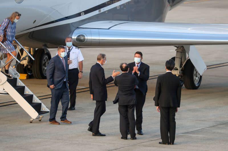FILE PHOTO: U.S. Undersecretary for Economic Affairs Keith Krach arrives at an airport in Taipei
