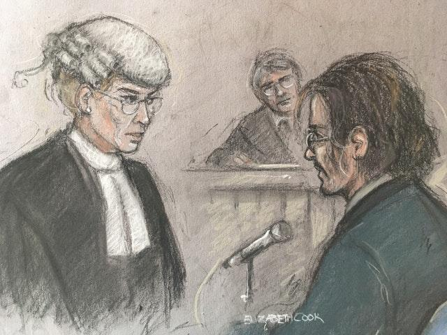 Court artist sketch of Johnny Depp being questioned by Sasha Wass QC at the High Court in London