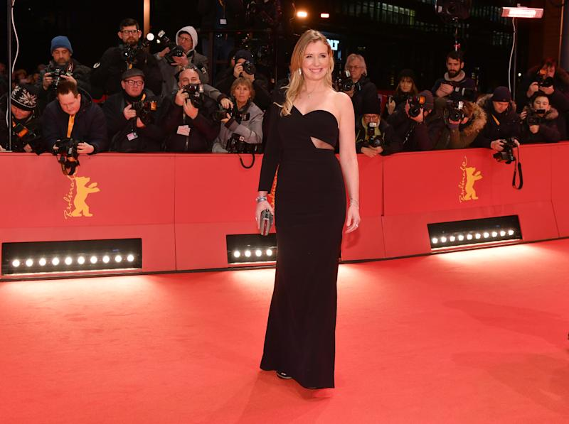 "07 February 2019, Berlin: 69th Berlinale, opening gala: Designer Jette Joop comes to the opening ceremony of the Berlinale. The gala will be followed by the world premiere of the film ""The Kindness of Strangers"". Photo: Jens Kalaene/dpa (Photo by Jens Kalaene/picture alliance via Getty Images)"