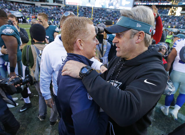 Jason Garrett of the Dallas Cowboys, left, and Eagles coach Doug Pederson need a win on Sunday night. (Getty Images)