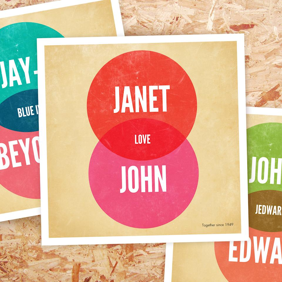 Personalised Venn Diagram Poster - from £19.99 at www.firebox.com Offering a gift that formed part of your secondary school maths studies might not sound appealing but this poster is perfect to show off the connection between you and your partner. Select your names for the top and bottom circles, plus an amorous middle bit, such as 'love' or forever', and you have a wall adornment that's sure to cause plenty of comment - what's not to like?