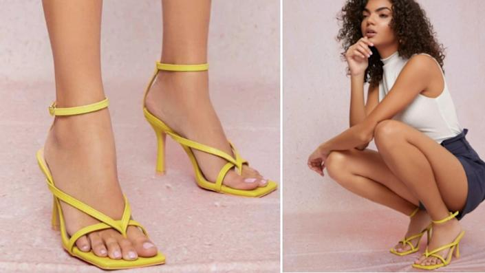 Vegan Leather Thong Toe Ankle Strap High Heels, $30