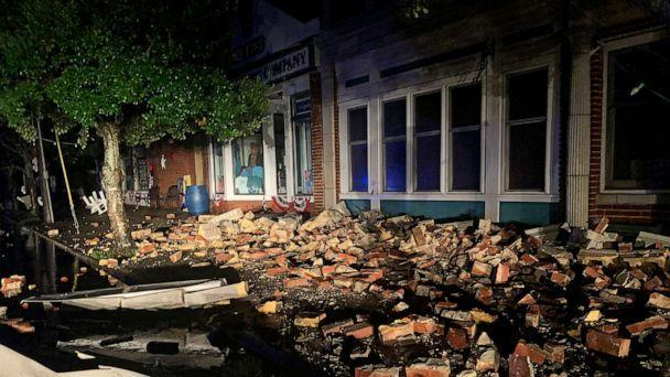PHOTO: Debris covers the sidewalk in Southport, N.C. on Aug. 4, 2020. (WECT-TV via AP)