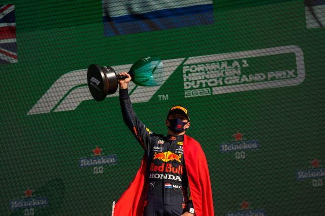 Red Bull driver Max Verstappen celebrates his victory at the Dutch Grand Prix