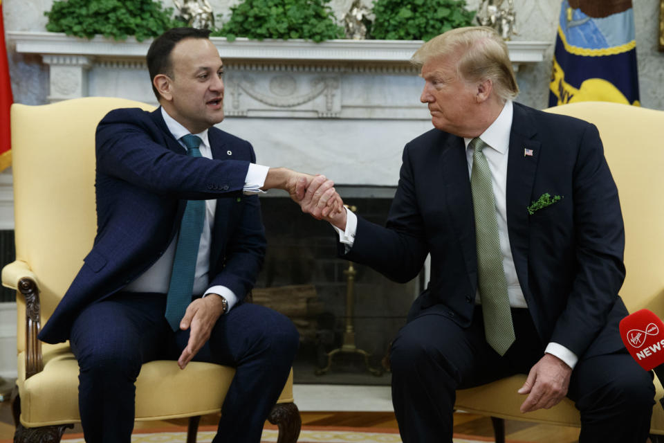 Donald Trump meets <span>Irish premier Leo Varadkar in the Oval Office (AP Photo)</span>