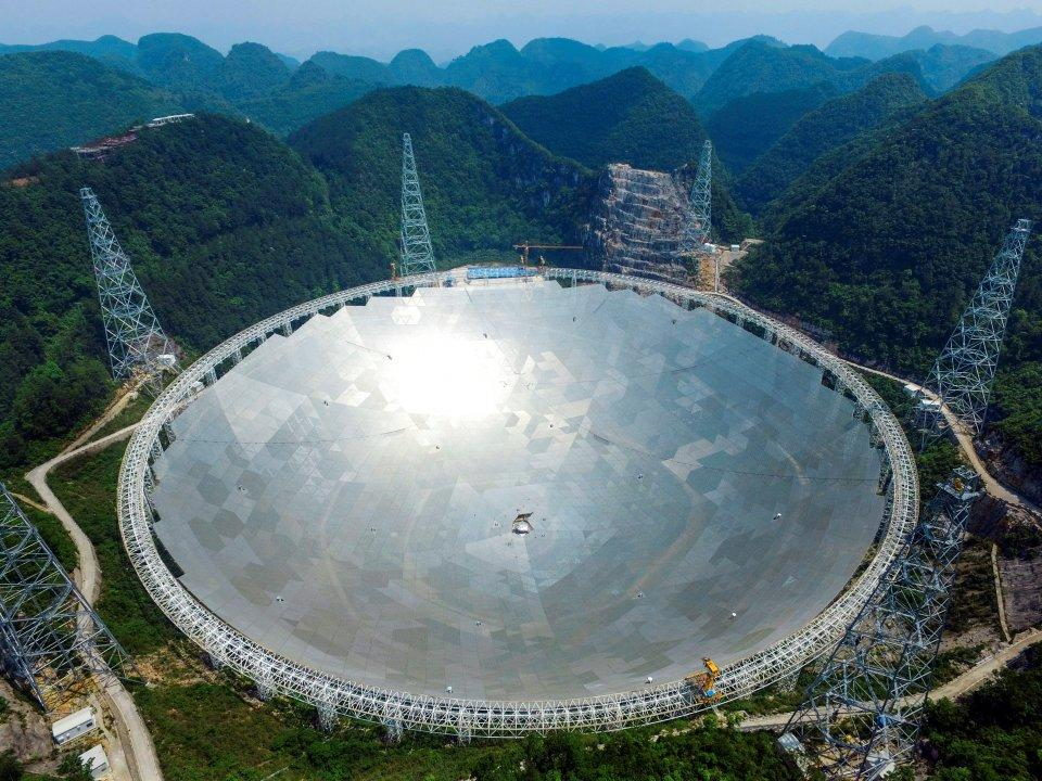 <p>Completed in September 2016, China's Pingtang telescope is now the world's largest radio telescope. Its dish measures 1,640 feet across and is capable of capturing signals more than 1,000 light-years from Earth. (Business Insider) </p>