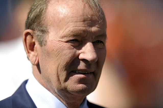 FILE - This is a Sept. 29, 2013, file photo showing Denver Broncos owner Pat Bowlen looking on during an NFL game against the Philadelphia Eagles in Denver. Bowlen is giving up control of the team as he battles Alzheimer's disease. The team announced Wednesday, July 23, 2014 that the 70-year-old Bowlen will no longer be a part of the team's daily operations. (AP Photo/Jack Dempsey, File)